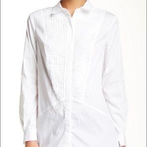 Trina Turk White Cotton Tuxedo Monita Shirt Small